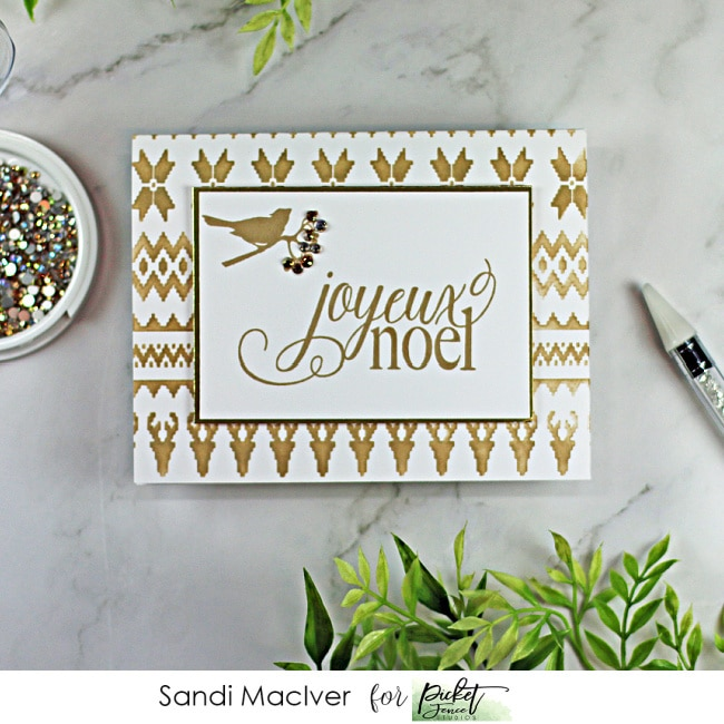 hand made christmas card with a little bird on a branch and a french Merry Christmas