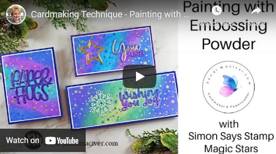 video of three handmade cards created with the Painting with Embossing Powder Technique