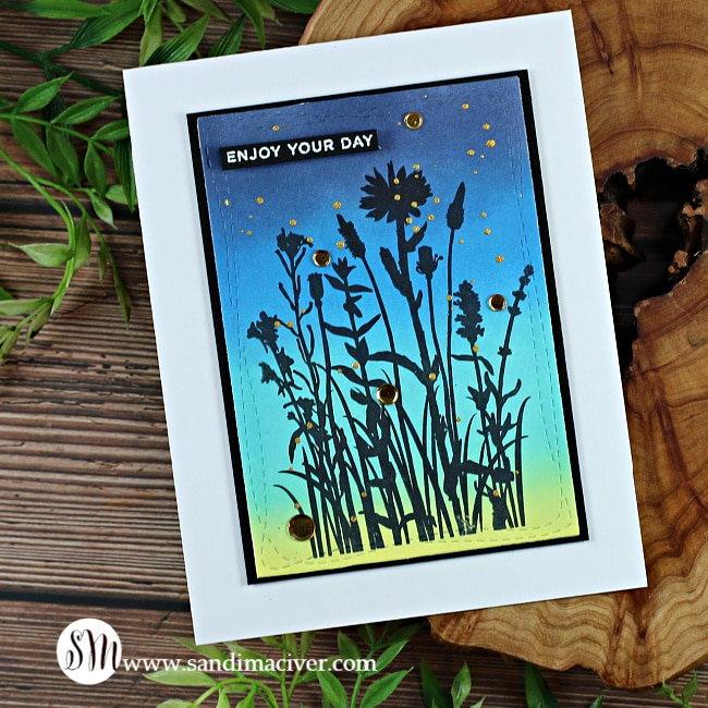 handmade silhouette card with distress oxide Inks