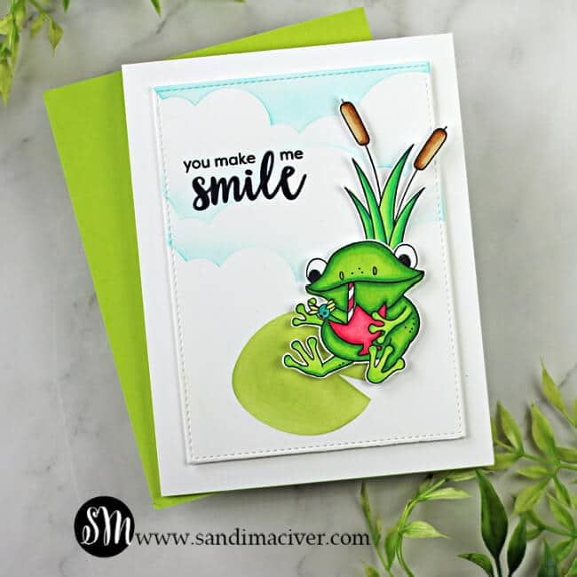 handmade card with frog sitting on a lily pad using products from the Simon Says Stamp Toadally Unfrogettable card kit