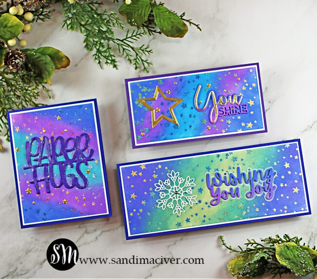 three handmade cards using the painting with embossing powder technique