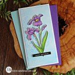 handmade mini slimline card with a colored iris and birthday greeting
