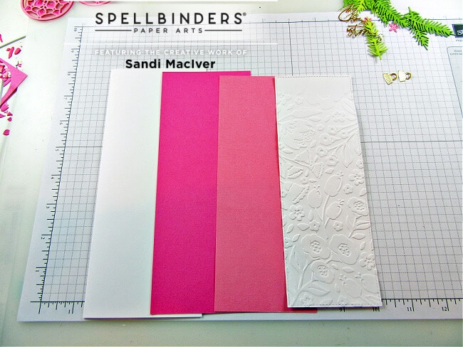 pink layers of card stock to create the slimline christmas card