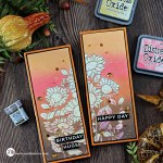 two handmade slimline cards with a distress oxide ink blended front and a bleached floral design using paper crafting products from Simon Says Stamp