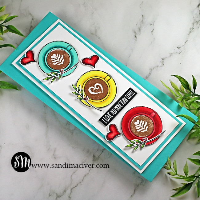 handmade slimline card with three different colors of coffee cups created using paper crafting products from Simon Says Stamp
