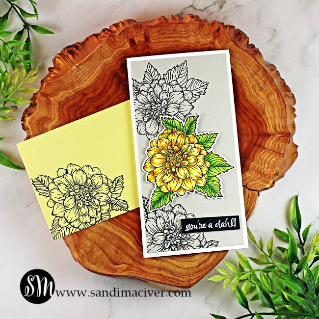 handmade mini slimline card with a yellow Dahlia using cardmaking and paper crafting products from Hero Arts