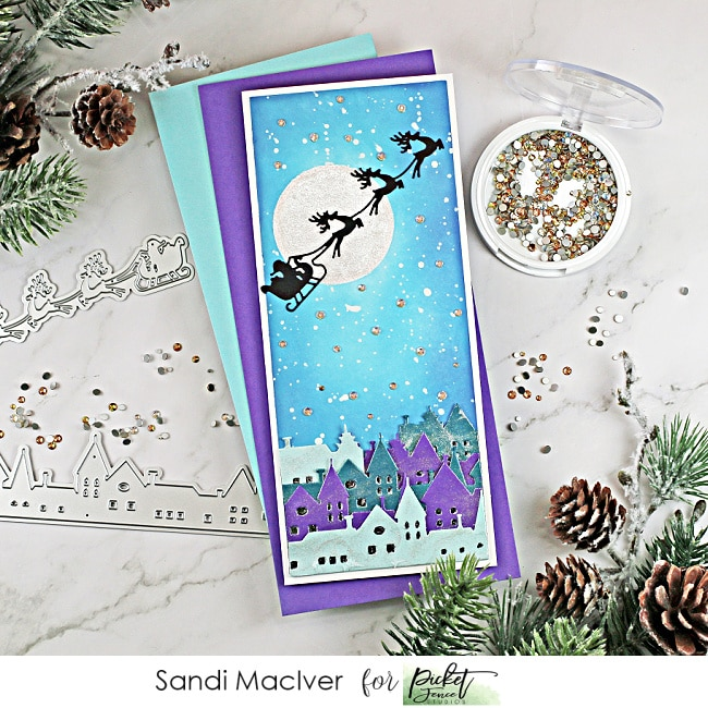 hand made slimline christmas card created with cardmaking products from Picket Fence STudios