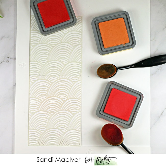 waffle flower stencil mat with ink pads, used for card making and paper crafting