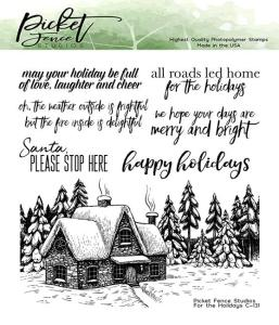 cabin in the forest stamp set for cardmaking and paper crafting from Picket Fence Studios