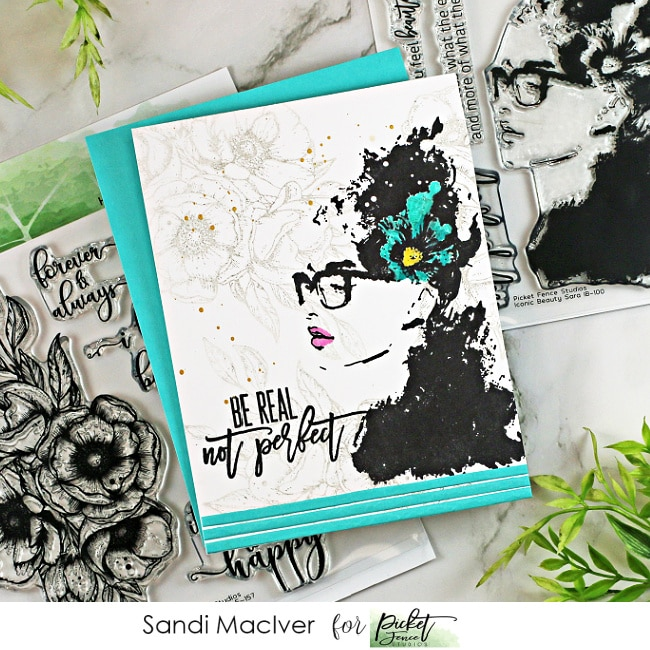 blue black and white handmade card created with new papercrafting products from Picket Fence Studios