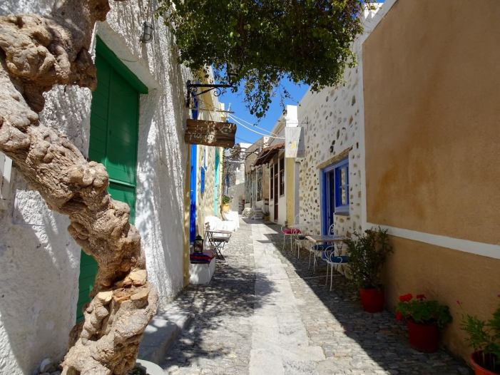 Cafe Street in Ano Syros, Greece