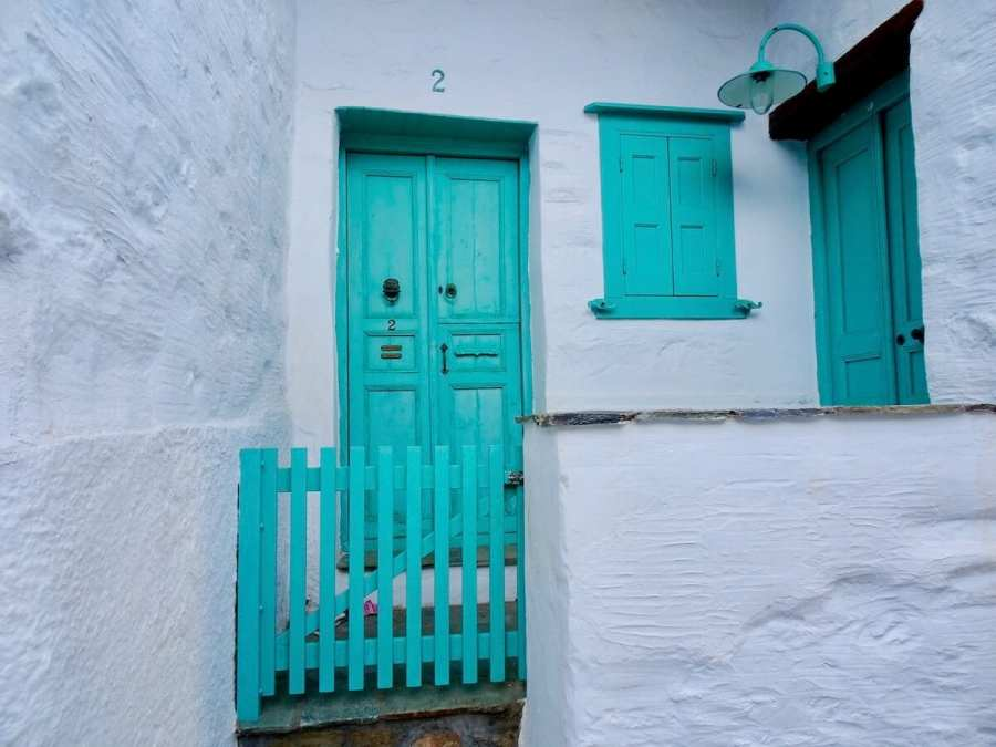 Turquoise doors, windows, of Ano Syros