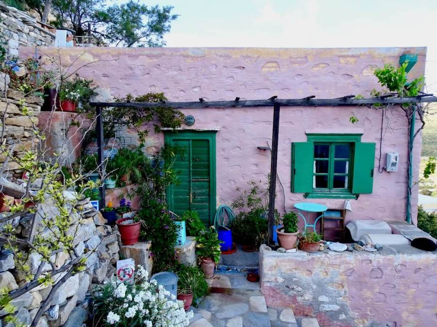 Colorful house in Ano Syros, Greece