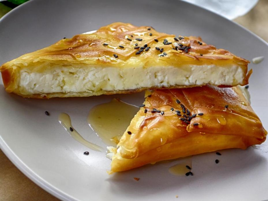 Feta wrapped in phyllo drizzled in honey