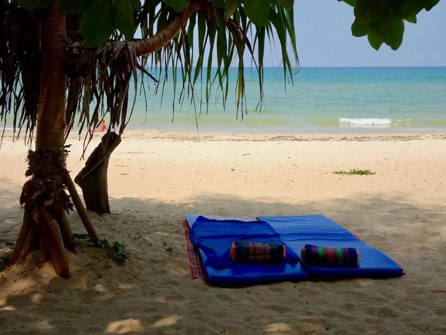 Phuket beach with 2 mats