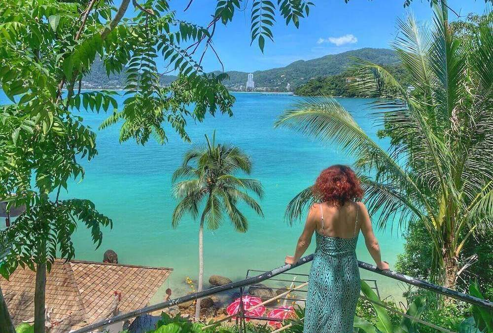 Me looking over gorgeous blue water