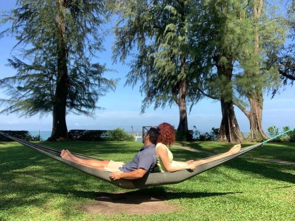 us leaning in hammock Lone Pine Hotel