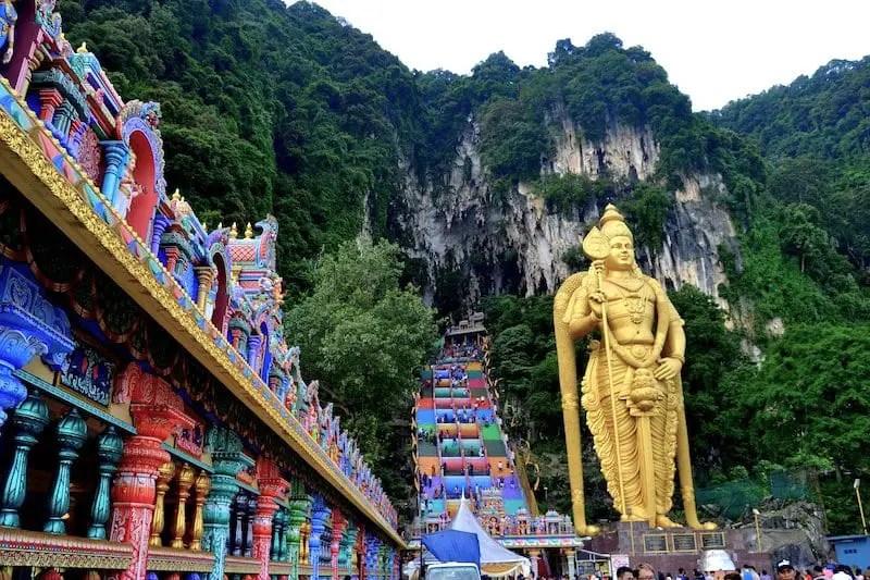 Batu Cave Hindu Temple rainbow stairs and Shiva