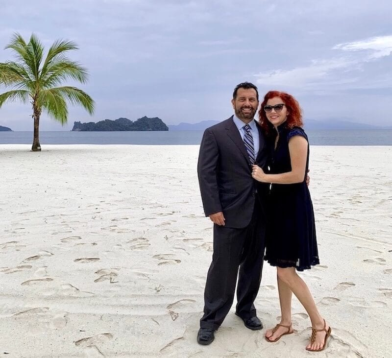 Us on the beach in Four Seasons langkawi