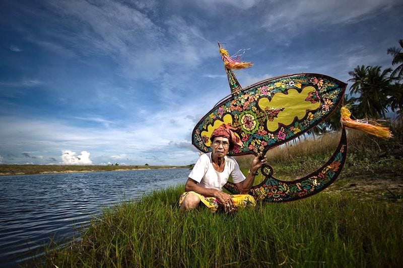 Man with wau traditional kite Kelantan