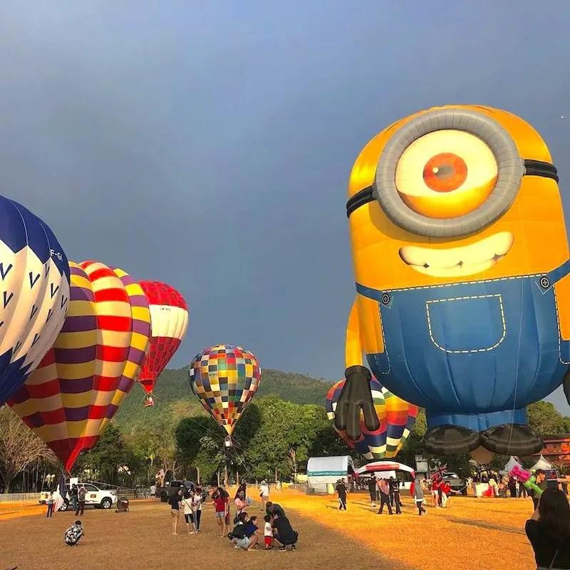 Hot air balloon festival. Minion balloon