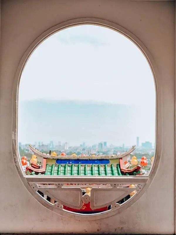 Kek Lok si through a oval window