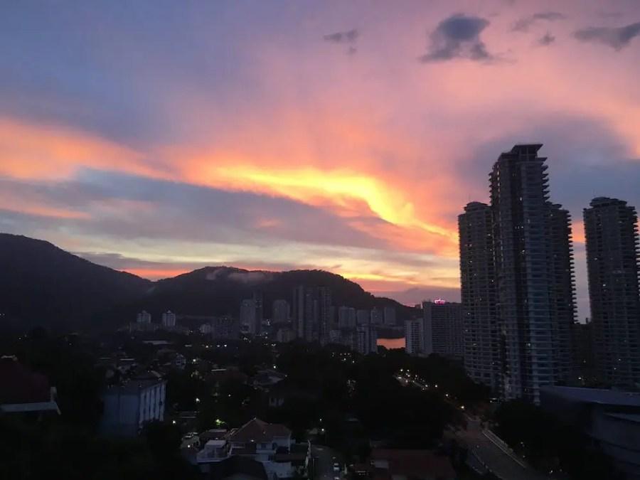 view of tanjung bungah sunset