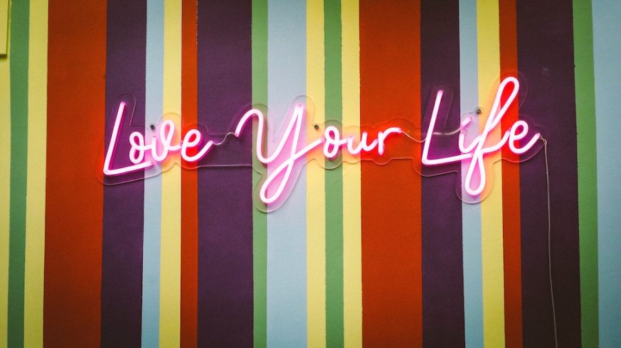 love your life neon sign on striped wall