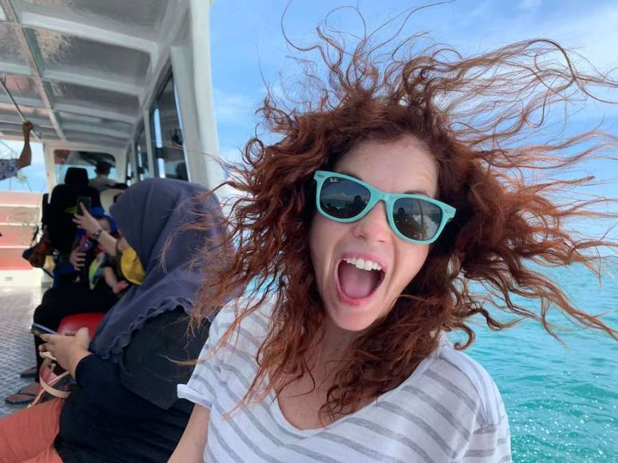 crazy hair me on boat