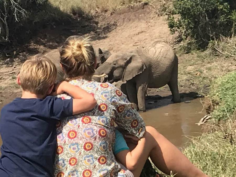 Woman and two kids watching an elephant: reasons to move to another country
