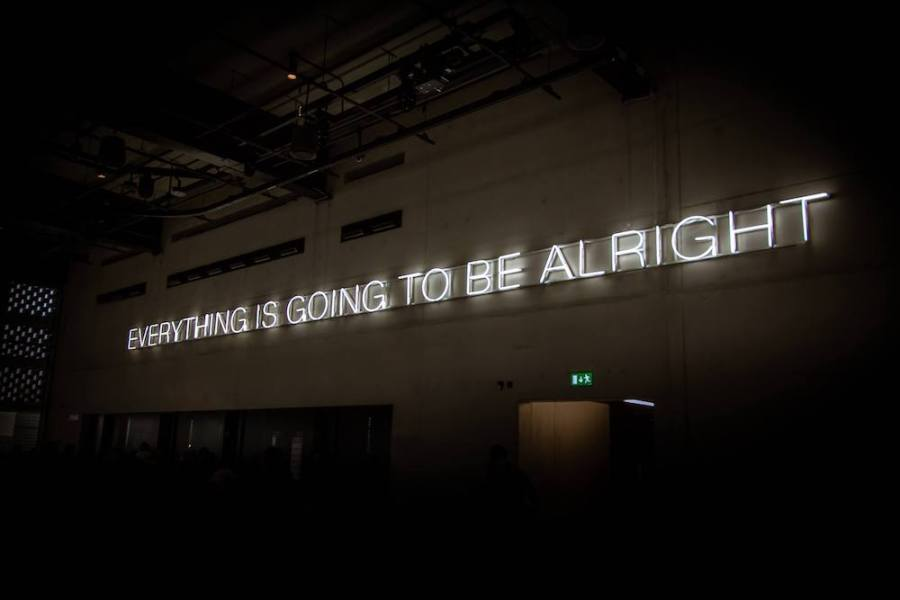 "neon sign ""everything is going to be alright"""