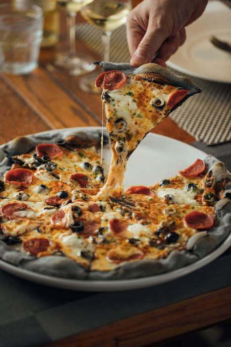 pizza with charcoal crust food delivery penang