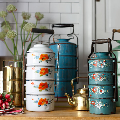 colorful tiffins for carrying food