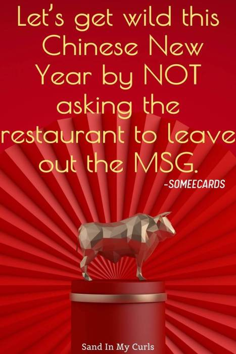 funny quote about Chinese New Year on red background