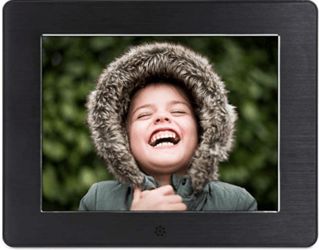 Digital photo frame with happy kid wearing a winter hood. Such a a good going away gift.