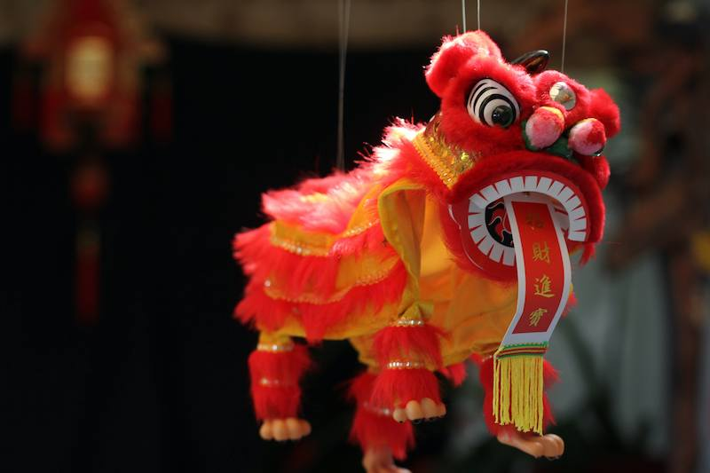 red lion puppet for chinese new year