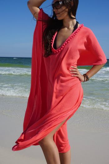 coral colored v-neck beach coverup dress