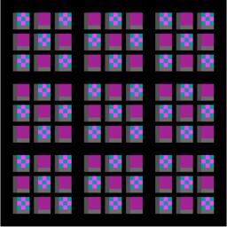 Meta Nine Patch, alternate squares are coloured