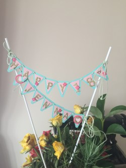 Cake Top Banner. Here I have used balloon sticks rather than bamboo or satay sticks. Full picture.