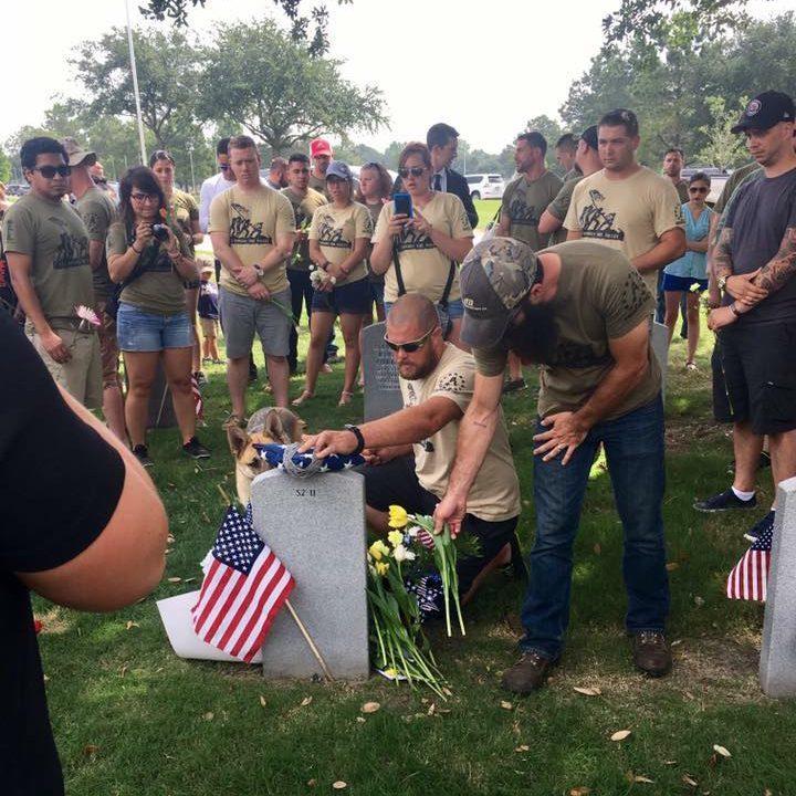 Tim at Memorial of Fallen Friend