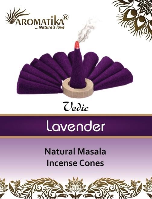 AROMATIKA CONES VEDIC MASALA LAVENDER  (Lavande) (couleurs végétales)