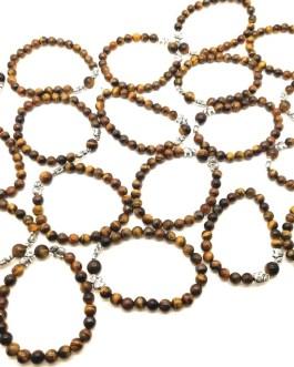 REF504 – BR. PIERRE OEIL DE TIGRE, perles 8mm, 2 éléphants métal
