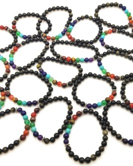 REF500 – BR. PIERRE perles 8mm – 7 CHAKRAS et OBSIDIENNE DOREE