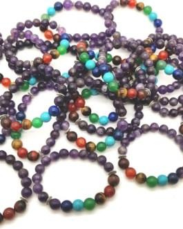 REF500A – BR. PIERRE perles 10mm – 7 CHAKRAS et AMETHYSTE