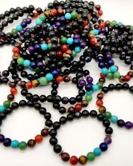 REF500A – BR. PIERRE perles 10mm – 7 CHAKRAS et ONYX NOIR