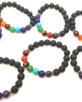 REF500A – BR. PIERRE perles 10mm – 7 CHAKRAS et PIERRE DE LAVE