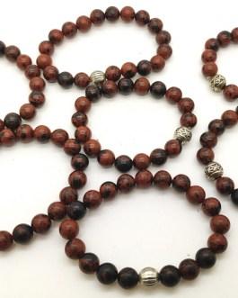 REF501A – BR. PIERRE perles 10mm avec 1 perle métal JASPE ROUGE