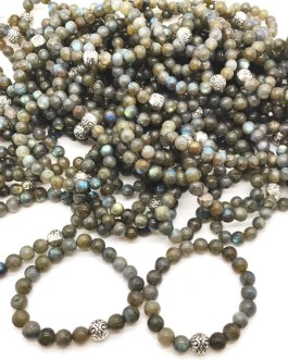 REF501A – BR. PIERRE perles 10mm avec 1 perle métal LABRADORITE