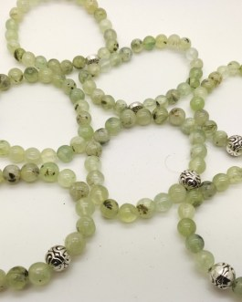 REF501A – BR. PIERRE perles 10mm avec 1 perle métal PREHNITE