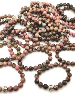 REF501A – BR. PIERRE perles 10mm avec 1 perle métal RHODONITE